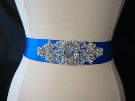 items similar to rhinestone bridal sash royal blue