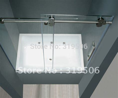 free shipping frameless sliding glass shower door set