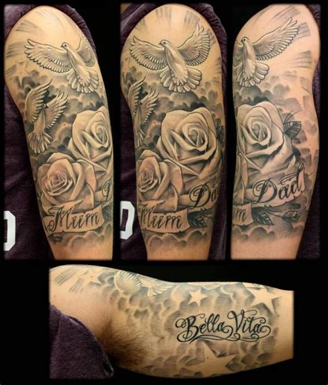 dove tattoo sleeve designs doves roses inkfreakz tattoos ideas