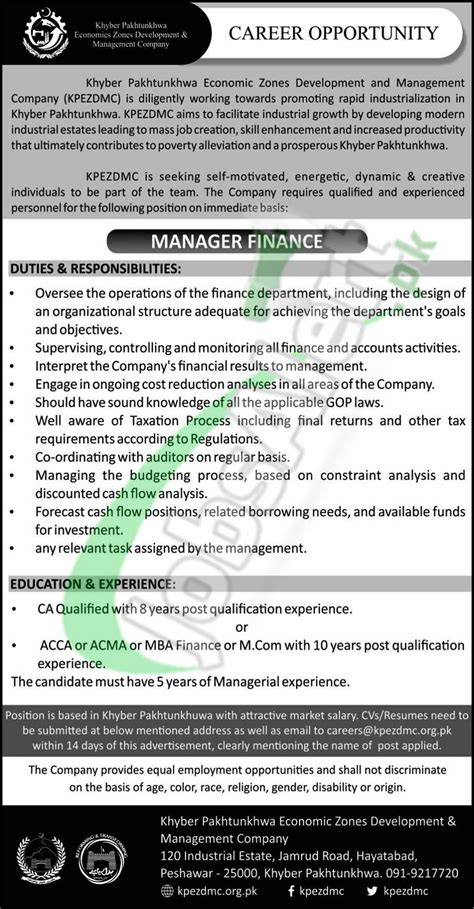 Mba Candidate Zone by Kp Economic Zone 2017 For Manager Finance Apply