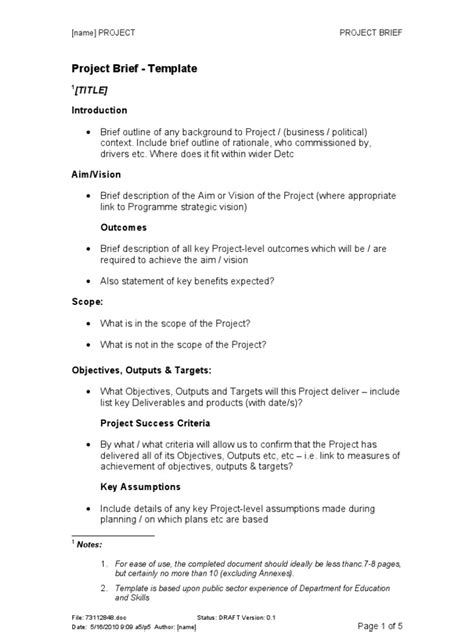 how to write a project brief template project brief template simple time equivalent
