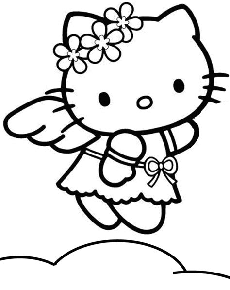 hello kitty with flowers coloring pages hello kitty cartoon characters coloring home