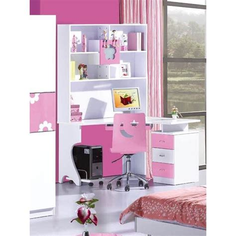 kid desk l flower l shaped student desk w hutch in pink buy