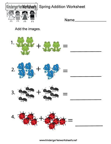 Addition Worksheets For Kindergarten by Addition Worksheet Free Kindergarten Seasonal