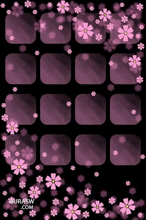 pretty purple flowers on an iphone home screen wallpaper