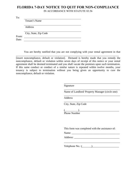 compliance form template florida 7 day notice to quit form non compliance