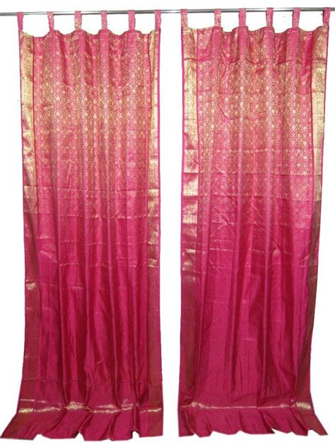 curtains in indian style 2 indian sari curtains magenta pink from indian