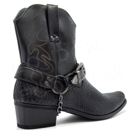 New Heel Boot Coboy new mens western cowboy ankle boots zip harness pointed