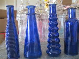 colored glass bottles 4 cobalt blue decorative colored glass bottles floral bud