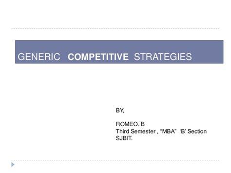 Mba Generic Strategies Analyzer by Generic Competitive Strategies