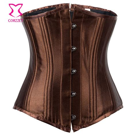 aliexpress buy brown espartilhos e corpetes plus size brown satin 24 steel boned waist trainer underbust corset corpetes e espartilhos