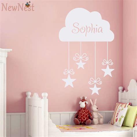 baby home decor custom girls name decals vinyl cloud and stars wall