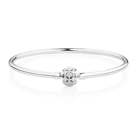 sterling silver 19cm 7 5 quot charm bangle with cubic zirconia