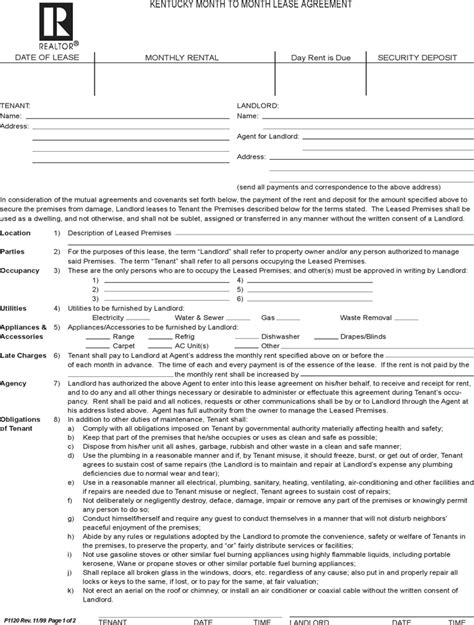 blank lease agreement ky download kentucky month to month rental agreement for free