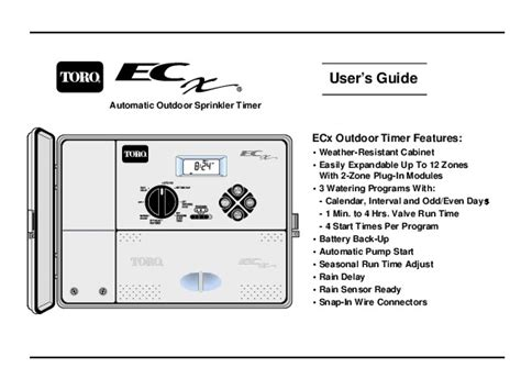Toro Users Guide Automatic Outdoor Sprinkler Timer Ecx