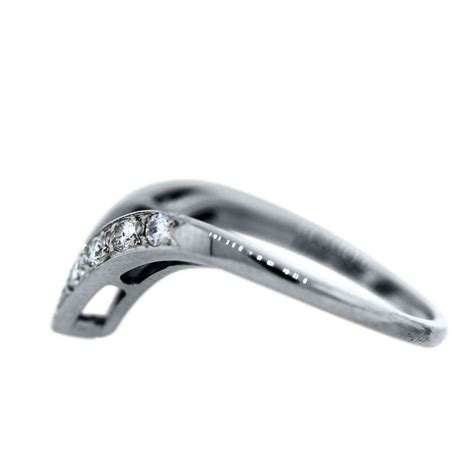 14k white gold and v shaped wedding band ring boca