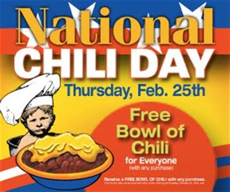 national chili day 2010 national chili day is today free bowl at times william f yurasko