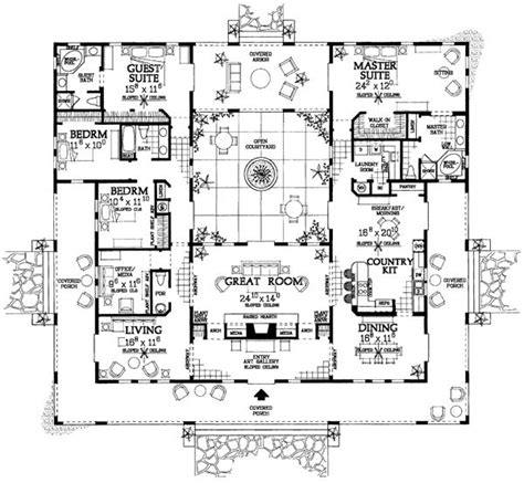 mediterranean floor plans with courtyard mediterranean ranch southwest house plan 90269 the