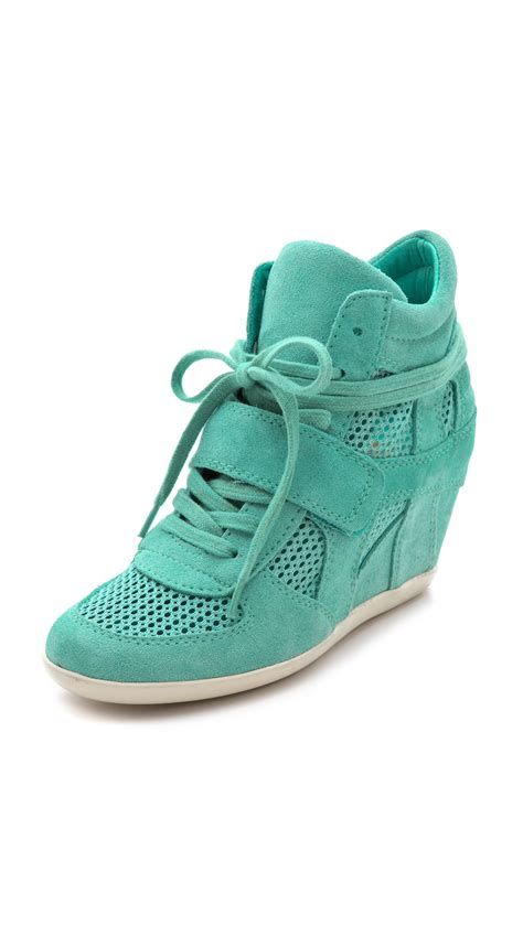 sneakers with wedge ash bowie wedge sneakers with mesh insets in green lyst
