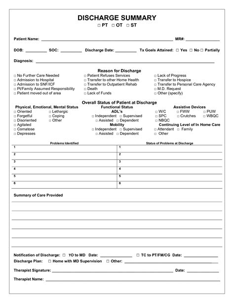 discharge summary template hospital summary form pictures to pin on