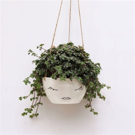 White Ceramic Hanging Planter Face Plant Pot By White Hanging Planter