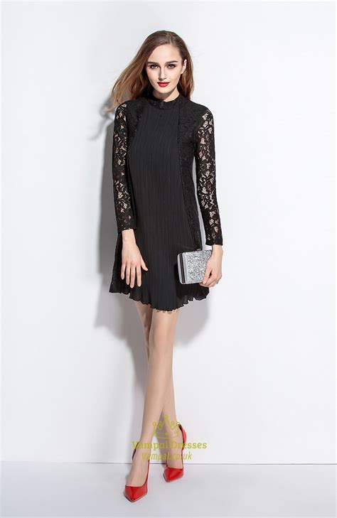 Sleeve Lace A Line Dress black high neck a line dress with lace sleeves