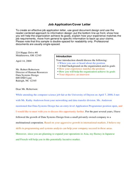 Application Letter Format Spacing Application Letter Format Spacing