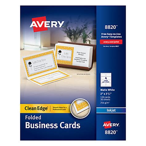 avery inkjet clean edge business cards 2 sided 2 x 3 12 white matte pack of 120 by office depot