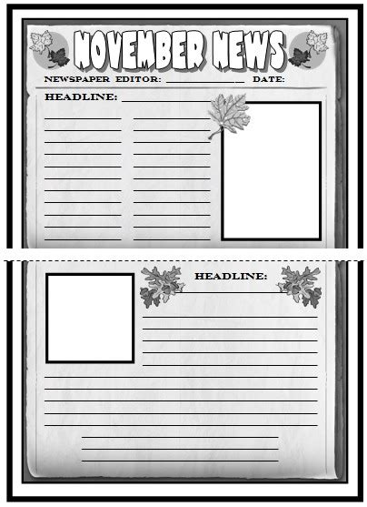 Free Printable Newspaper Template For Students by Newspaper Article Template For Students Printable