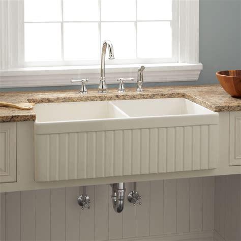 farmhouse kitchen sink 39 quot risinger double bowl fireclay farmhouse sink