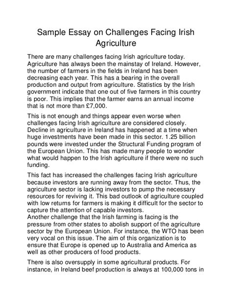 Personal Challenges Essay sle essay on challenges facing agriculture
