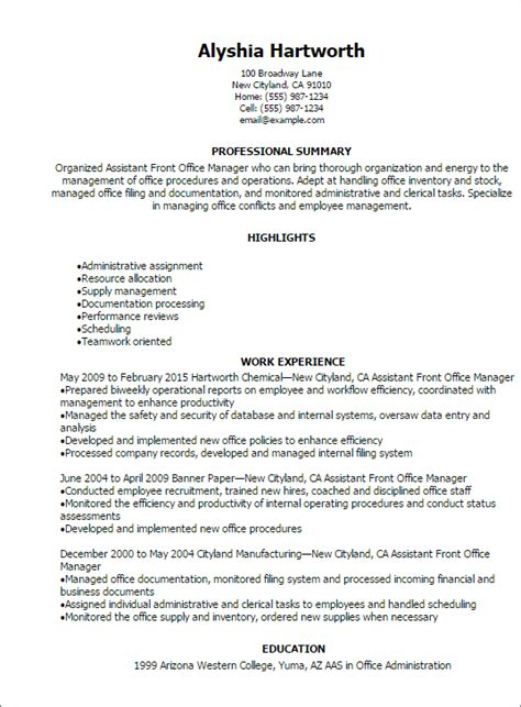 office manager resume sles 1 assistant front office manager resume templates try them now myperfectresume