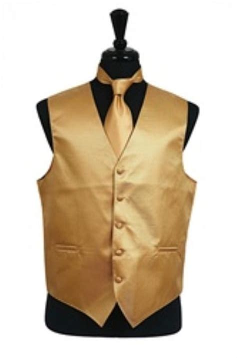 gold pattern waistcoat horizontal rib pattern vest tie set gold