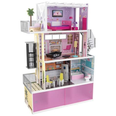 barbie doll houses with elevator kidkraft beachfront mansion dollhouse doll house furniture elevator wooden ebay