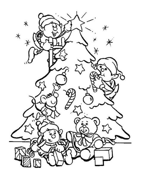 coloring pages christmas elves decorate a christmas tree coloring page christian