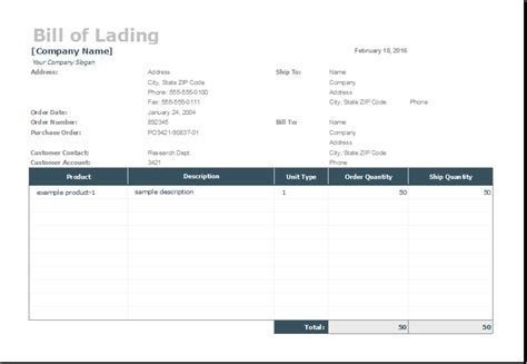 Bill Of Lading Template For Ms Excel Excel Templates Bill Of Lading Template Excel