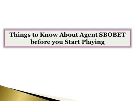 agent sbobet   start playing