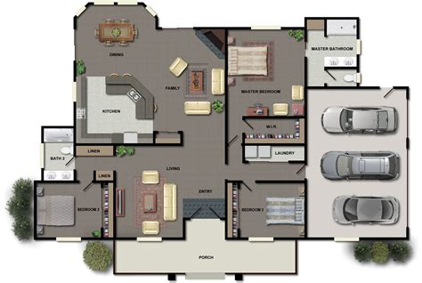 home plan 3 bedroom house plans ideas