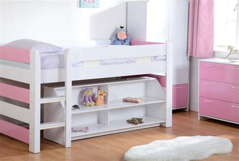 seconique lollipop mid sleeper bed in white and pink