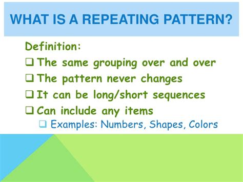 pattern same meaning repeating and growing patterns