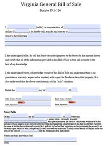 Bill Of Sale Template Virginia free virginia personal property bill of sale form pdf
