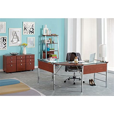 Realspace Mezza Quot L Quot Shaped Glass Computer Desk Cherry Realspace Mezza L Shaped Desk