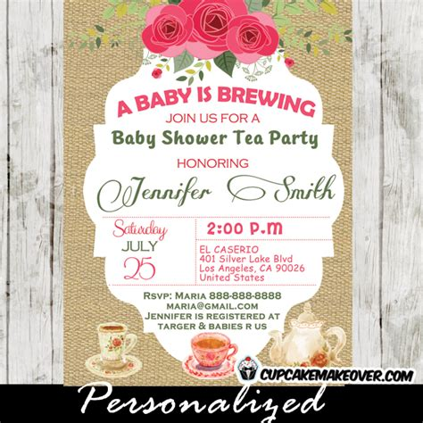 Tea Baby Shower Invitations by Shabby Chic Burlap Baby Shower Tea Invitation