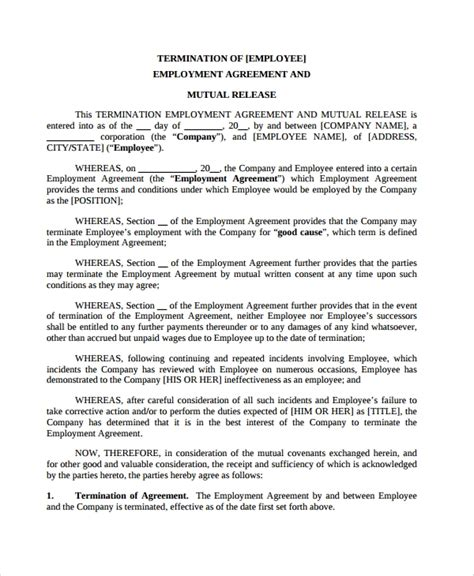 termination of employment contract template 6 employment termination agreement templates sle
