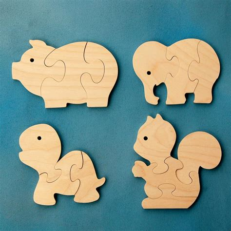 Animal Puzzle wood puzzle favors animals package of 12