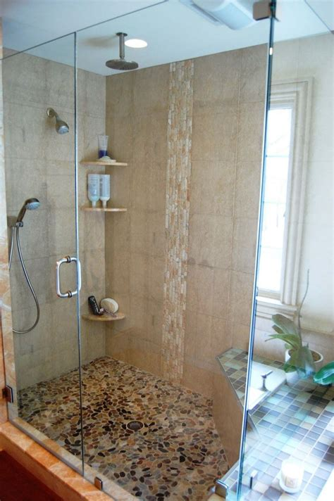 bathroom showers ideas pebble stone floor in shower mark pinterest