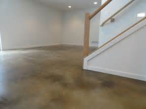 Carpet In Basement On Concrete Floor Stained Concrete Basement Floor Modern Basement