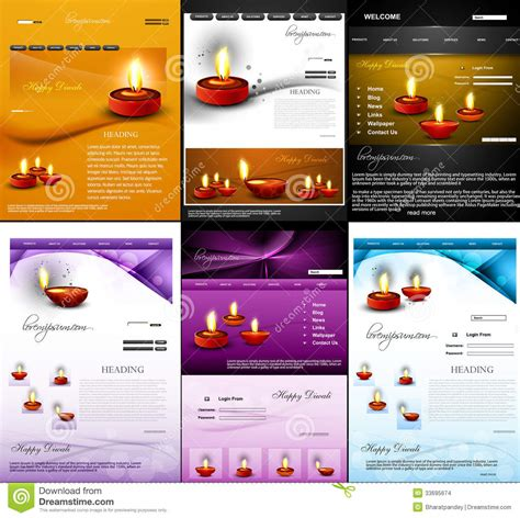 Deepawali Diwali Diya Website Template Presentati Stock Vector Illustration Of L Brochure Colorful Website Templates