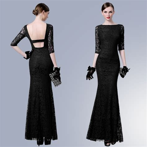 boat neck black lace dress sexy mermaid boat neck backless black lace formal evening