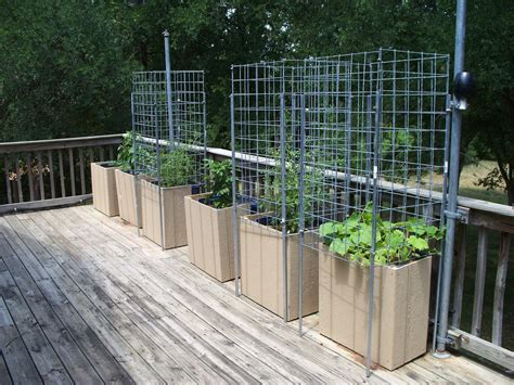 Deck Garden Planters drip irrigation and shades for the container garden